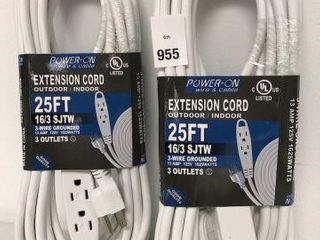 2PCS POWER ON 3 OUTlETS EXTENSION CORD