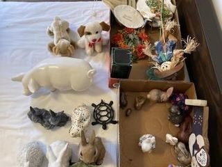 Ceramic rabbits  scarecrow  stuffed animals  pig