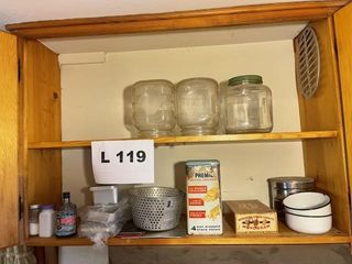 Vintage cracker tin  ice cube trays  glass jars