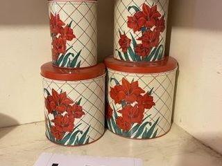 Vintage floral tin canister set