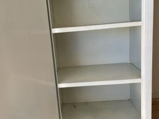 Metal storage cabinet  wooden shelf and misc