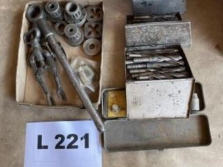 Partial tap and die set  drill bits and misc