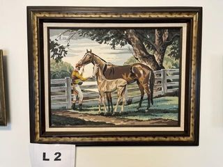Vintage horse and duck paintings