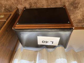 Vintage wood and pleather file storage ottoman