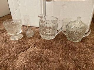 Vintage glass creamer and sugar set