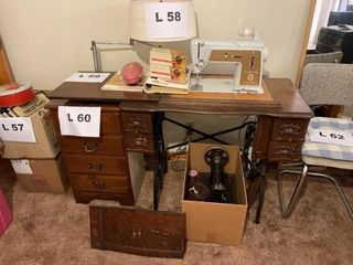 Antique white sewing machine cabinet with white