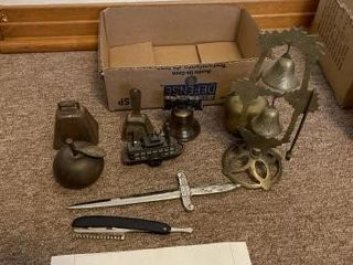 Vintage brass bells and misc