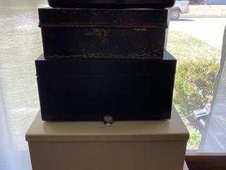 Miscellaneous empty metal storage boxes