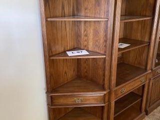 lighted wooden corner shelf Approximately 76IJ x