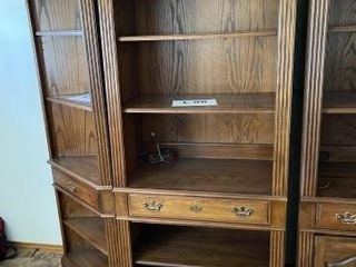 Wooden shelf with light approximately 76IJ x 33IJ x