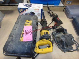 Group of elec pwr tools  Dewalt sawsall  Skil dril