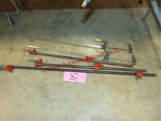 5 various size bar clamps