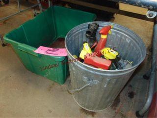 Recycle bin  metal trash can w  misc fluids