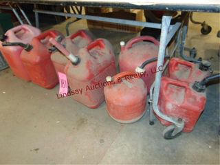 8 various size gas cans