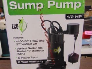 NIB Cast Iron submersible sump pump 1 2HP