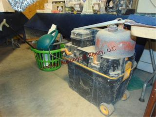 Rolling toolbox  gas can  fan  water can    other