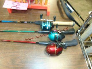 3 fishing poles w  reels SEE PICS