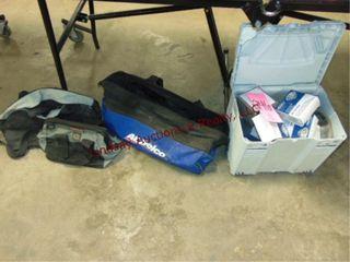 3 various size tool bags  NIP sink strainers  othr