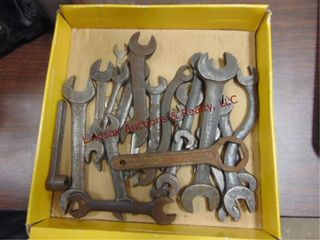 Flat of vintage open end wrenches  SAE