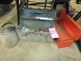 2 toolboxes  1 w  contents    face shield SEE PICS