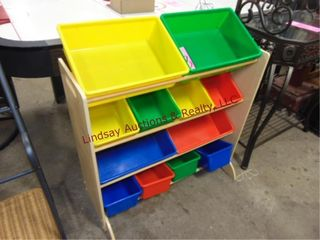 Kids toy bin  12 bins  bottom shelf broken