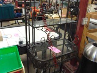 Metal wine rack w  glass shelves Approx 32 x17 x68