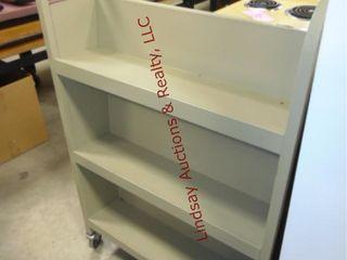 Metal book cart  approx 31 x 17 x 47