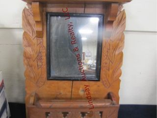 Wood mirror approx 14  x 28