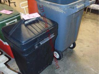 2 plastic trash cans w  wheels