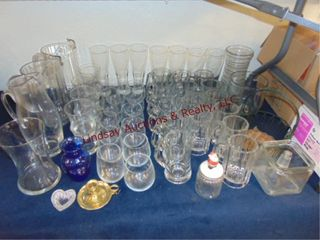 Group of approx 49  pcs glass  pitchers  beer mugs