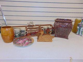 Wood rack w  coffee mugs  plate  flower pot   othr