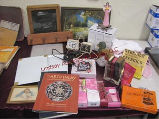 Group of misc  decor items  books  clocks   other