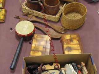 Group misc  wicker holders  wood mugs