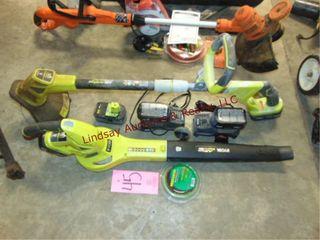 Ryobi lithium Hybrid 18v trimmer   blower  5 batts