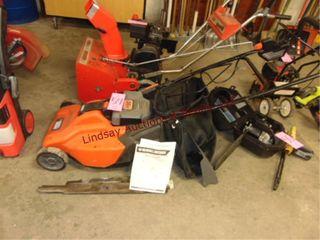 B D 36v 19  pushmower w  mulch bag   misc blades