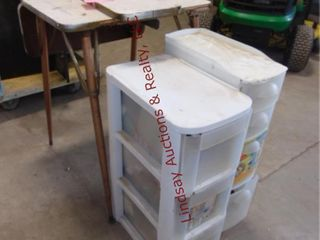 2 plastic bins W  CONTENTS  Dropleaf table  needs