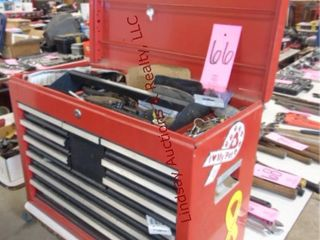 10 drawer metal toolbox WITH CONTENTS 26x12x19