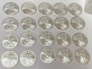 2008 American Silver Eagle Roll  20  Coins  999 Tube of Dollars   NICE     20 Ounces of Fine Silver