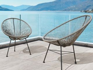 Corvus Sarcelles Modern Wicker Patio Chairs SET OF 2