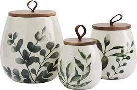 Gallery Tabletops Green leaf Canisters SET OF 3