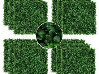 Outsunny Artificial Boxwood Milan Grass Mat w  Grid Back Design 12 PACK