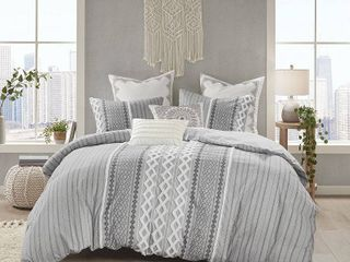 The Curated Nomad Clementina Geometric Cotton Duvet Cover Set Full Queen Size
