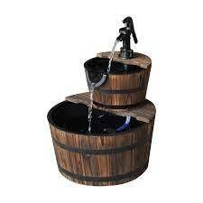Outsunny Accent 2 Tier Rustic Wooden Barrel Fountain