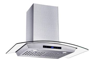 Vissani 30 in  W Convertible Glass Wall Mount Range Hood with 2 Charcoal Filters in Stainless Steel  Silver