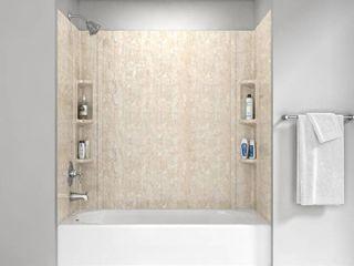 American Standard Colony 32 in  x 60 in  5 Piece Glue Up Alcove Wall Bath Set in Sand Travertine