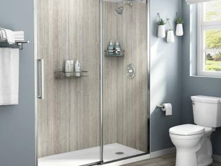 American Standard Passage 32 in  x 60 in  x 72 in  4 Piece Glue Up Alcove Shower Wall in Pewter Travertine
