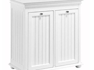 Home Decorators Collection Hampton Harbor 26 in  W Double Tilt Out Beadboard Hamper in White