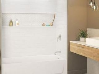 Bootz Industries Nextile 30 in  x 60 in  x 60 in  4 Piece Direct to Stud Alcove Tub Surround in White
