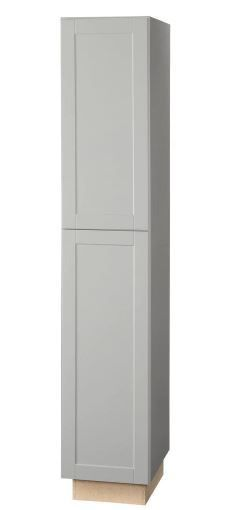 Shaker Assembled Pantry Kitchen Cabinet in Gray Cabinet 90Tx18Wx25D by Hampton Bay