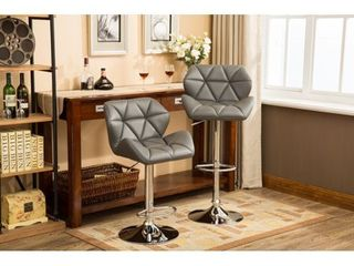 Roundhill Furniture Glasgow Contemporary Tufted Adjustable Height Hydraulic Bar Stools  Set of 2  Black
